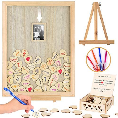 Libro de invitados de boda alternativa - Regalo de recuerdo de evento - Marco de fotos con gota de corazón - Hermosa decoración personalizada para tu fiesta