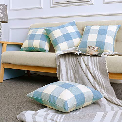 Volcanics Buffalo Check Plaid Throw Pillow Covers Set of 4 Farmhouse Decorative Square Pillow Cover Case Cushion Pillowcase 18x18 Inches for Home Decor Sofa Bedroom Car, Light Blue and White