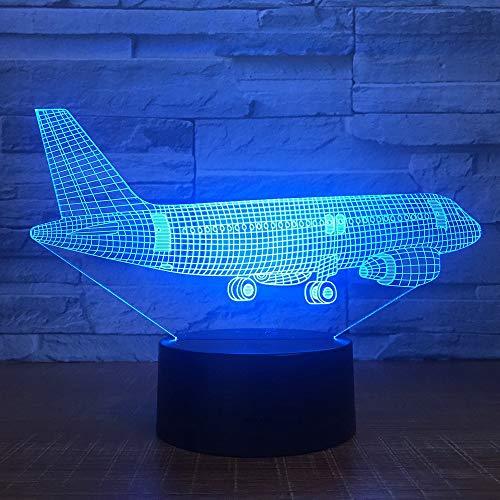 Lámpara LED 3D, avión, luz 3D, para escritorio, cambio de color, RGB, controlador, juguete para niños, regalo
