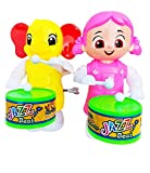 AK Store Toys Funny Key-Operated Cute Doll Girl and Elephant Drummer Toy with Drumming and Dancing Action for Kids (Plastic,Multi color, Pack of 2)