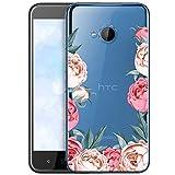 OOH!COLOR Schutzhülle Kompatibel mit HTC U11 Life Hülle Silikon Hülle Handy Tasche transparent Bumper mit Coolen Aufdruck Motiv Pfingstrosen (EINWEG)