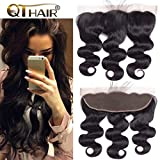 QTHAIR 12A Grade Brazilian Body Wave Ear To Ear 13x4' Full Lace Frontal Closure 20inch Body Wave Brazilian Human Hair 13x4 Lace Frontal With Baby Hair