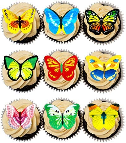 Bomcan 70Pcs Edible Butterfly Cupcake Toppers 3D Cake Decorations Wafer Paper for Birthday Wedding product image