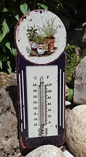 LB H&F Gartenthermometer analoges Thermometer Metall - 38 cm Gross - Blechschild Antik Design