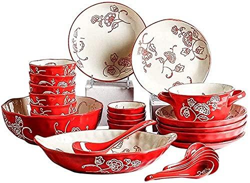 LLSS Juego de vajilla, Juegos de Cuencos, 28 Piezas de vajilla con diseño de Mariposa de Color Rojo, Plato de Sopa Creativo/ensamblaje de cerámica, vajilla para 6 Personas