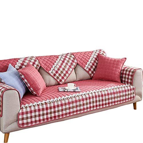 YUTJK Europeo Fundas de Sofá,Dos Plazas Antideslizante Funda para Sofá,Cubre Sofá para Chaise Long Rinconera,Cubierta de cojín de sofá Acolchado de algodón-Rojo_90×90cm