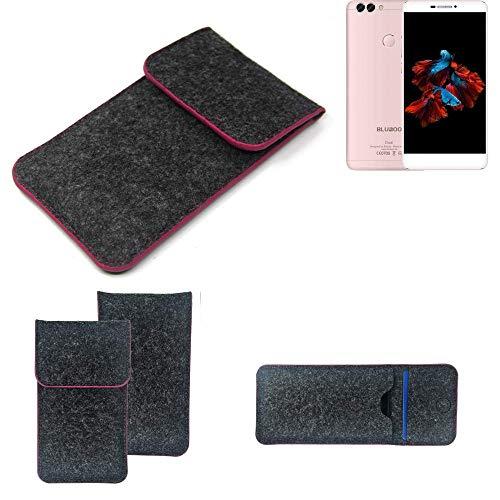 K-S-Trade Filz Schutz Hülle Für Bluboo Dual Schutzhülle Filztasche Pouch Tasche Hülle Sleeve Handyhülle Filzhülle Dunkelgrau Rosa Rand