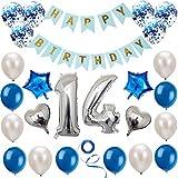 Haosell 14 Anniversaire Décoration Set Argent Bleu Décoration Anniversaire Fête d'Anniversaire Décoration Happy Birthday Bannière 14 Ans Ancien Argent Chiffres Ballons Décoration pour Fille, Garçon