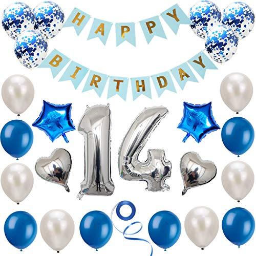 Haosell 14 Geburtstag Dekoration Set Silber Blau, Geburtstagsdeko, Geburtstagsfeier Dekoration, Happy Birthday Banner, 14 Jahre Alte Silber Zahlen Luftballons Deko für Mädchen, Jungen, Frauen, Männer