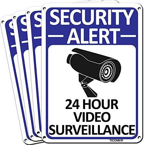 TICONN 4 Pack 24 Hour Video Surveillance Sign Security Alert Aluminum Sign for CCTV Security product image