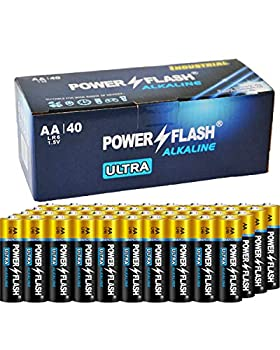POWER FLASH AA Batteries with Fresh Date - 40 Industrial Pack - Ultra Long Lasting All Purpose Double A Alkaline Battery