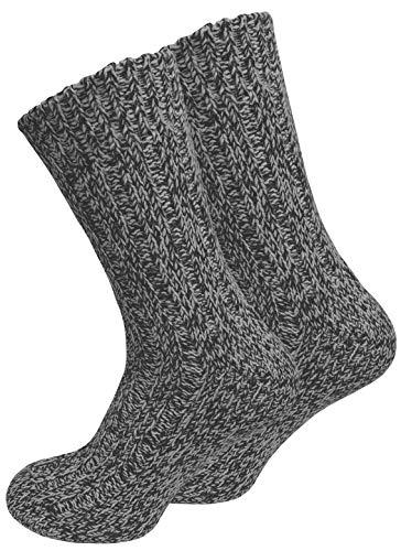 Lot de 2 paires de chaussettes norvégiennes (Chaussettes de laine), tricoter des chaussettes. Pour les hommes et les femmes. Gris/Noir 39-42 EU