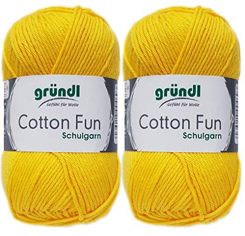 2x50 Gramm Gründl Cotton Fun Häkelgarn Schulgarn aus 100 % Baumwolle + 1 Anleitung für ein Meerschwein (04 Gelb)