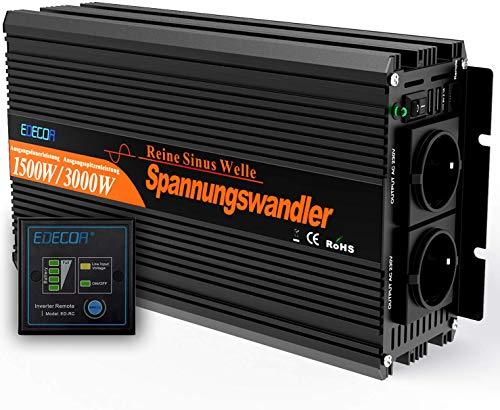 EDECOA Wechselrichter reiner sinus 1500w Spannungswandler 12V 230V 2x USB und Fernbedienung Spannungswandler Reiner Sinus Sonnensystem Inverter Pure Sine Wave