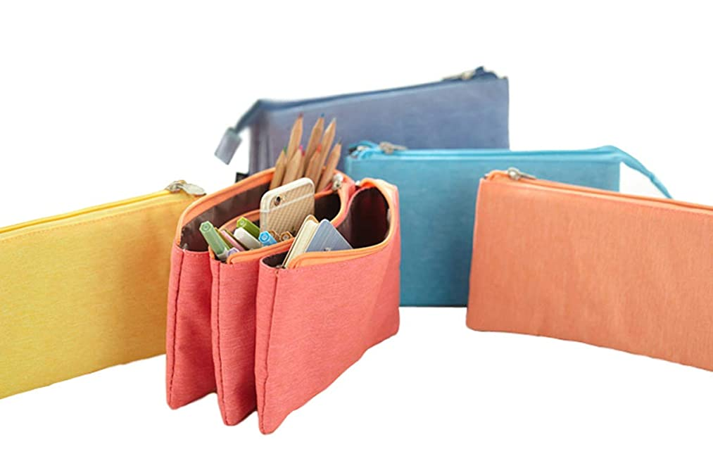 UQueen Fashion Creative Candy Color Three Layer Large Capacity Zipper Cosmetic Makeup Storage Bag,Simple Lovely Cute Canvas Multi-functional Stationery Pencil Pen Case Bag(green)
