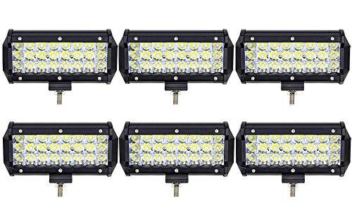 Leetop 6pcs 72W Projecteur Phare de Travail LED Barre de Travail étanche IP67 LED Antibrouillard Feux Diurne Lumière Off Road Lampe Feu de Travail pour Camion 4x4 Tracteur