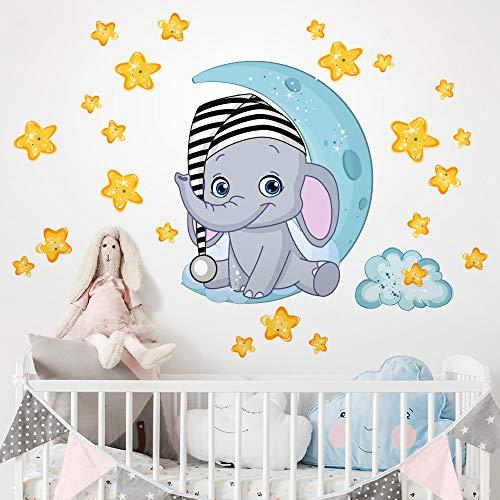 kina R00322 Adesivi Murali Luna Stelle Elefante Decorazione Murale Bambino Cameretta Asilo Nido Camera da Letto, Carta da Parati Adesiva Effetto Tessuto