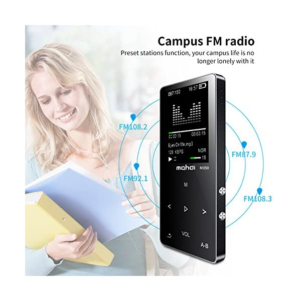 MP3/MP4 Music Player, 8GB Portable Audio Player with Photo Viewer, Voice Recorder, FM Radio, A-B Playback, E-Book, Metal Body, Build-in Speaker with Headphone(Expandable Up to 128GB) 5