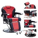 Walcut Barbershop Barber Chair Hydraulic Pump Hairdressing Reclining Chair for Salon Shampoo Beauty Spa Equipment Hair Cutting (Red&Black)