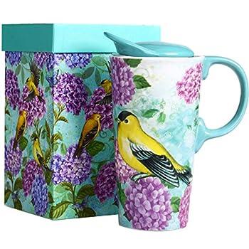 CEDAR HOME Travel Coffee Ceramic Mug Porcelain Latte Tea Cup With Lid 17oz Humming bird