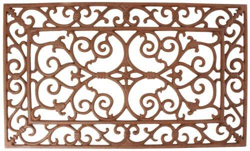 Esschert Design Schmutzfangmatte, Fußmatte in antik aus rötlichem Gusseisen, rechteckig, ca. 58 cm x 34 cm