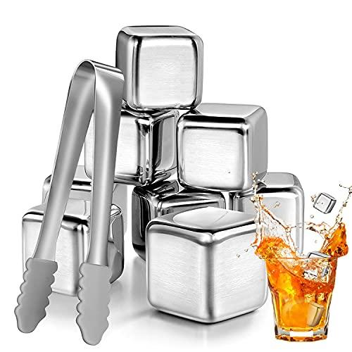 KDWOA Cubitos de Hielo de Acero Inoxidable, 8 Piedra de Whisky Reutilizables, Cubos Refrigeración Acero de Calidad con Pinzas, Ideal para cerveza, vodka, cóctel