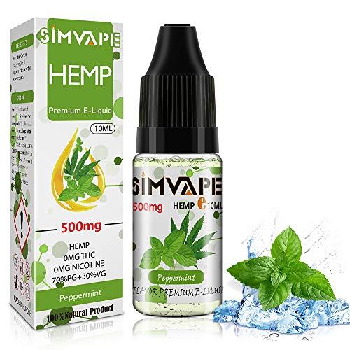 SIMVAPE CBD E liquid 500mg,Hemp Öl Vape liquid 10ml,Hanf Öl für E Zigarette Starter Set/SMOK/E Shisha, PG70/VG30 Eliquid, ohne Nikotin, ohne THC (Pfefferminze)