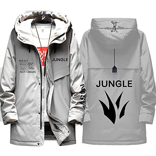 73HA73 Herren Warme Winterjacke LOL League of Legends Esports Jungle Uniform Kapuzen Coat Hoodie Komfortable Übergangsjacke Sweatshirt Jacken (No Shirt),Gray,2XL(180-185cm)