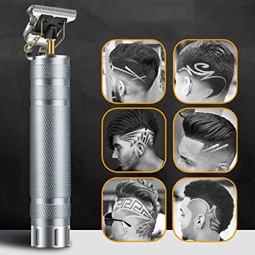 Haarschneidemaschine, Neu Aktualisiert Herren Haarschneidemaschine Profi, T-Outliner Barttrimmer USB Wiederaufladbar Schnurloser Elektrischer Friseursalon T-Blade Trimmer für Männer (Silber)