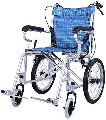 Y-Longhair Silla de ruedas de acero, silla de ruedas portátil de viaje con cinturón de seguridad, azul, anillo manual antideslizante, adecuado para niños, personas mayores y discapacitados