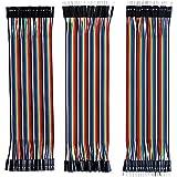 MMOBIEL 120 Piezas Kit de Cables de conexión Multicolores de Cinta con Placa de Pruebas Dupont, 40 Clavijas M/H, 40 Clavijas M/M y 40 Clavijas H/H. Compatible con Raspberry Pi 2 3 4 Longitud 20 cm