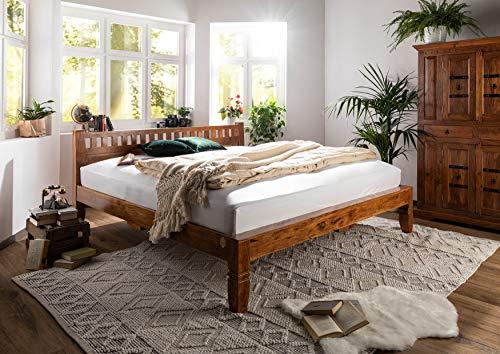 MASSIVMOEBEL24.DE Kolonialart Bett 180x200 Honig Akazie massiv Möbel Oxford #223