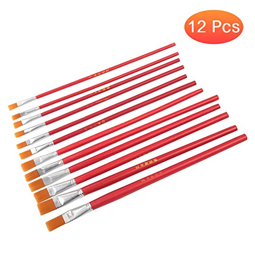 negaor 12 Pcs Flat Paint Brush Artist Painting Brushes Nylon Hair Paint Brush Set Painting Brush with Long Handle Paintbrush Paint Brushes Set