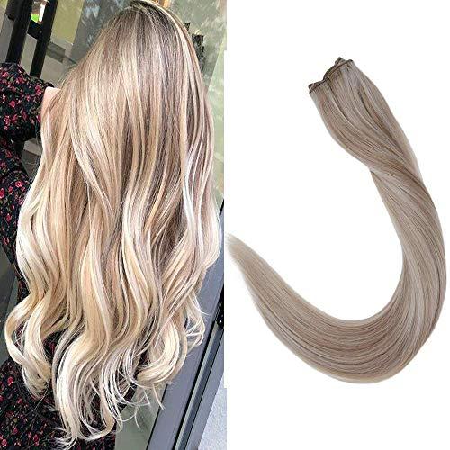 LaaVoo Fish Line Haarverlängerungen Highlight AshBlonde to Light Blonde 16 Zoll 80 GR In Naturally Remy Extensions Human Hair Professionelle Haarverlängerungen für Frauen