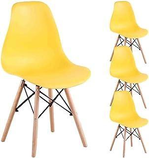 Juego de 4 sillas de comedor de N A a MUEBLES HOME Eiffel de mediados del siglo XIX, sillas de cocina modernas, de plástico, con patas de madera para comedor, dormitorio, sala de estar
