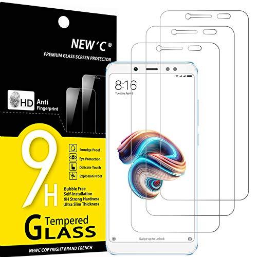 NEW'C 3 Unidades, Protector de Pantalla para Xiaomi Redmi Note 5, Antiarañazos, Antihuellas, Sin Burbujas, Dureza 9H, 0.33 mm Ultra Transparente, Vidrio Templado Ultra Resistente