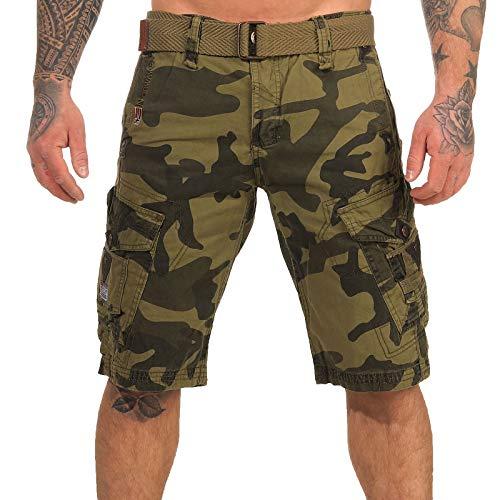 Geographical Norway Cargo Shorts Pantalones Cortos Bermudas con Cinturón Hunter En Bundle con UD Pañuelo - Black Camuflaje, 3XL