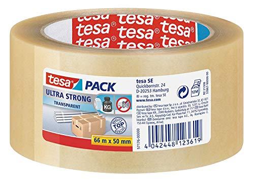 tesa Ultra Strong - PVC-Klebebänder für festes Verpacken und sicheres Bündeln - Transparent - 66 m x 50 mm