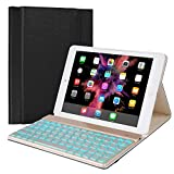 iPad Keyboard Case Compatible with iPad 9.7 2018 (6th Gen) / iPad 2017 (5th Gen) / iPad Pro 9.7 / iPad Air 2 & 1, BT 7 Color Backlit, Leather Folio Detachable iPad Case with Keyboard (9.7, Black)