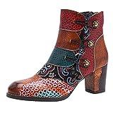 Botas para Mujer Otoño Tobillo Tacón Ancho Alto PAOLIAN Botines Mujer Invierno Cortas Fiesta Elegantes España Vintage Botas Piel Sintético Etnicos con Hebilla Zapatos Mujer Vestir