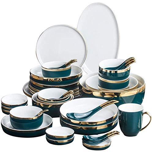 ZJZ Vajilla de Porcelana de Hueso, vajilla de cerámica para Comedor, Plato Hondo para Sopa, Plato de Carne, 18 Piezas