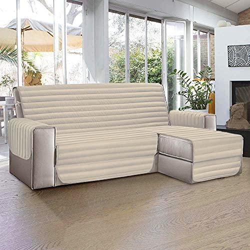 Aplus1 Funda para sofá chaise longue a la derecha – Izquierda. Tela acolchada y antimanchas. Protección contra el polvo, las manchas, el pelo de perros y gatos (crema, 4 plazas 290 cm)