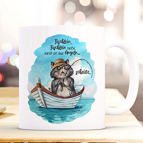 Mug Cup Coffee Cup Cat Cat Kitten Fishing Hangover Angel Saying Fish Lein Bite Otherwise Shit Coffee Mug Gift Wordmug