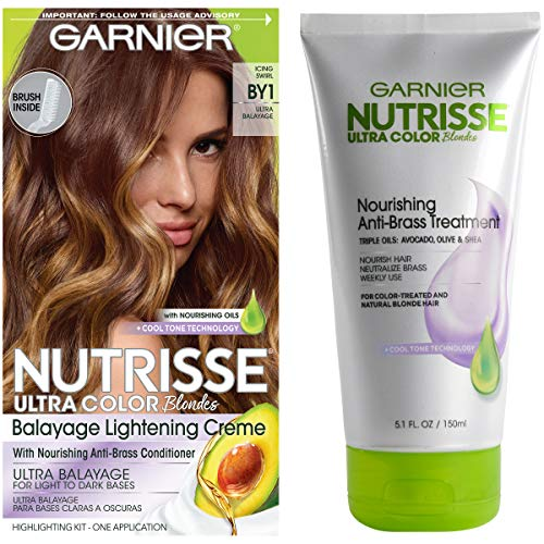 Garnier Nutrisse Ultra Color Hair Color and Anti-Brass Treatment, Icing Swirl BY1, Balayage Kit, Pack of 1