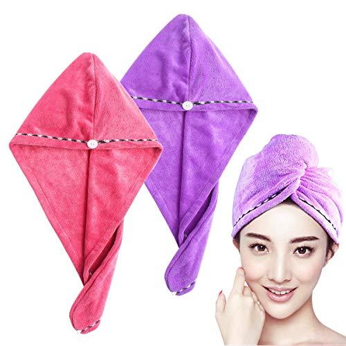 frcolor toalla secador, 2pcs avvolgimento a taza de turbante de pelo, secador de secado rápido de microfibra a rápido essiccazione (Morado Rosa)