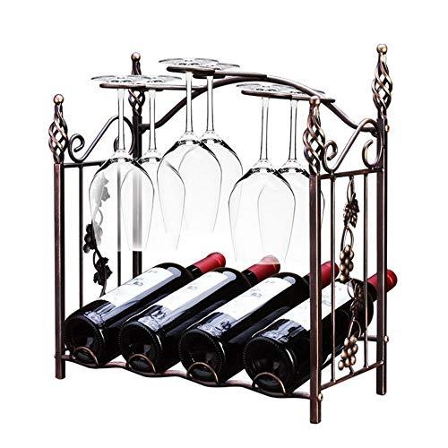 AMYAO Botellero Estantería de Vino Soporte for Botellas de Metal Estante for exhibición de gabinetes de Vino de 4 estantes Portavasos for Botellas de Vino Stemware Rack de Bronce