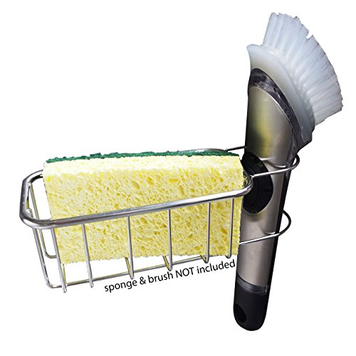 2-in-1 Sink Sponge Holder | in Sink Brush Caddy | Detachable Stainless Steel Kitchen Sink Organization Basket for Sponges, Scrubbers, Dish Brushes | No Suction Cup or Magnet
