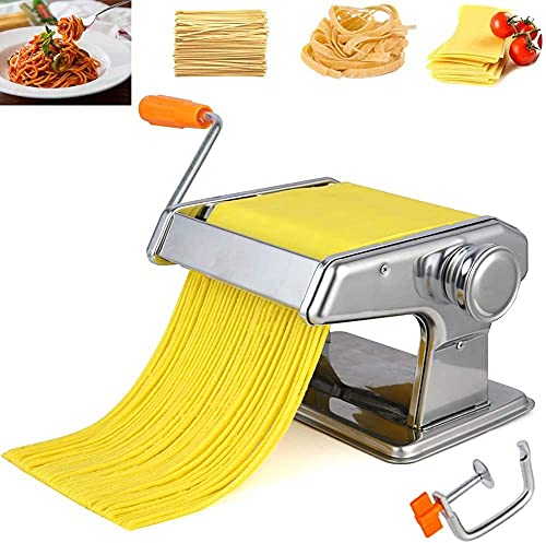Pasta Maker Machine Hand Crank - Roller Cutter Noodle Makers Best for Homemade Noodles Spaghetti Fresh Dough Making Tools Rolling Press Kit - Stainless Steel Kitchen Accessories