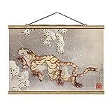 Stoffbild mit Posterleisten - Katsushika Hokusai - Tiger in