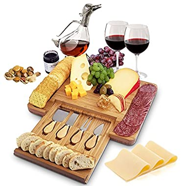 100% Natural Bamboo Cheese Board and Cutlery Set with Slide-out Drawer by Home Euphoria . Serving Tray for Wine, Crackers, Charcuterie. Perfect for Christmas, Wedding & Housewarming Gifts.